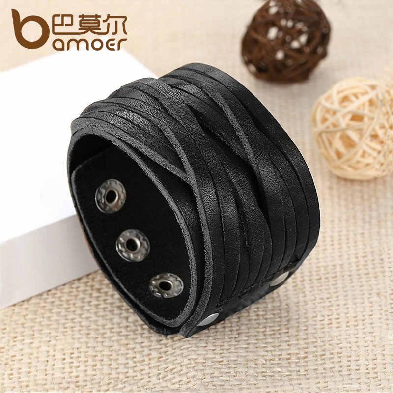 BAMOER czarny i brązowa prawdziwa skóra bransoletka ze stopu klamra z regulacją modne damskie i męskie bransoletki biżuteria PI0337-1