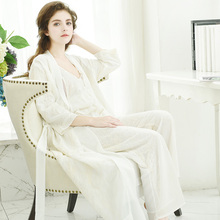 Women Pajama Sets Tops Pants Robe Three-Piece 2017 NEW Summer Sleeveless Princess Pyjama Lounge Set Embroidery Bathrobes