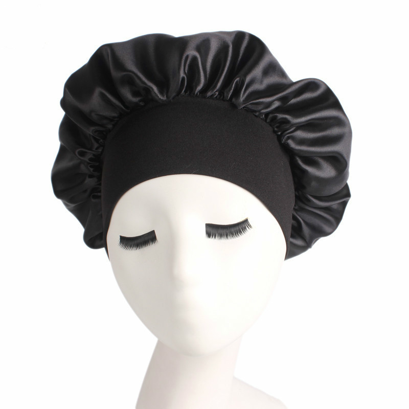 1PC Women Wide Band Satin Silk Bonnet Cap Comfortable Night Sleep Cap Ladies Soft Silk Long Hair Care Bonnet Headwrap