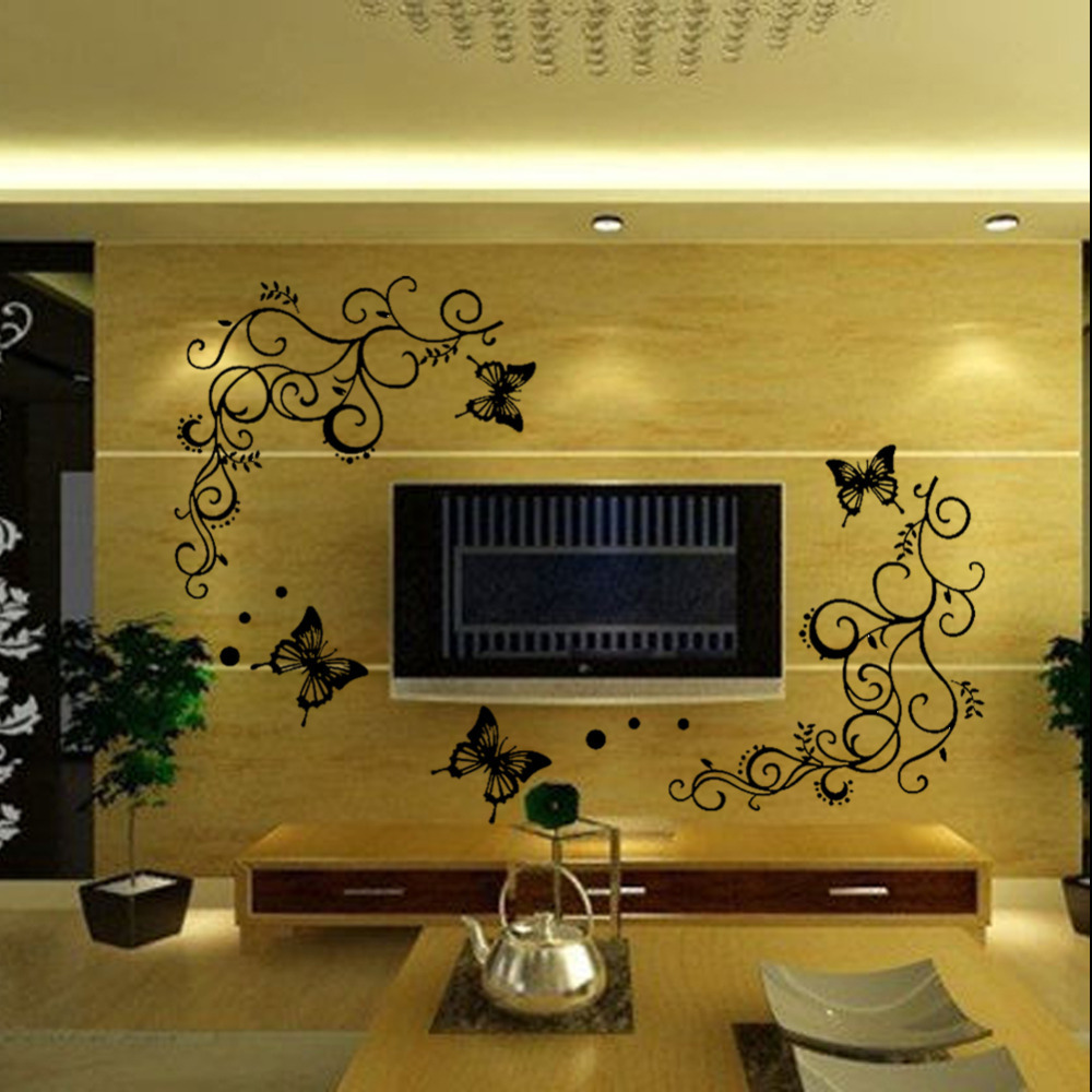 HOT SALE high quality calssic black butterfly flower wall sticker ...