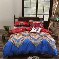Bohemian Style Bedding set Floral Printed Bed linens Twin Queen King Size 4pcs Duvet Cover Flat Sheet Pillow case Hot sale 3