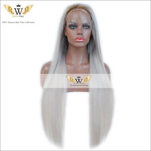7A Ombre Gray Lace Front Silky Straight Wigs With Baby Hair Ombre Dark Roots Glueless Full Lace Human Hair Wigs