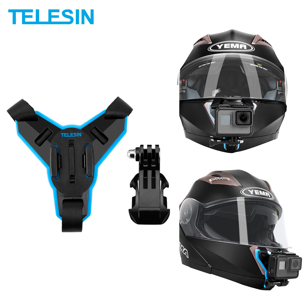 TELESIN Motorcycle Helmet Strap Mount Action Camera Front Chin Mount for GoPro Hero Xiaomi Yi 4K DJI Osmo Action Accessories