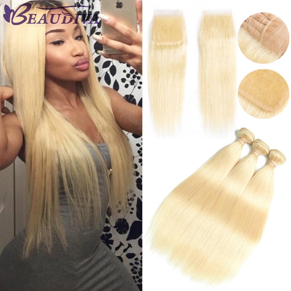 Brazilian Hair Weave Bundles 3 PCS 613 Blonde Bundles With Closure Brazilian Straight Hair 613 Bundles