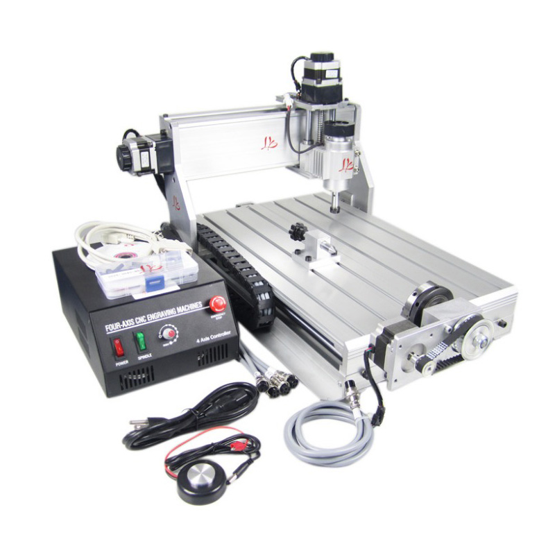 Free Shipping 4 axis mini cnc Router 3040 Z-DQ with ball screw tool auto-checking instrument 4th rotary axis for 3d cnc