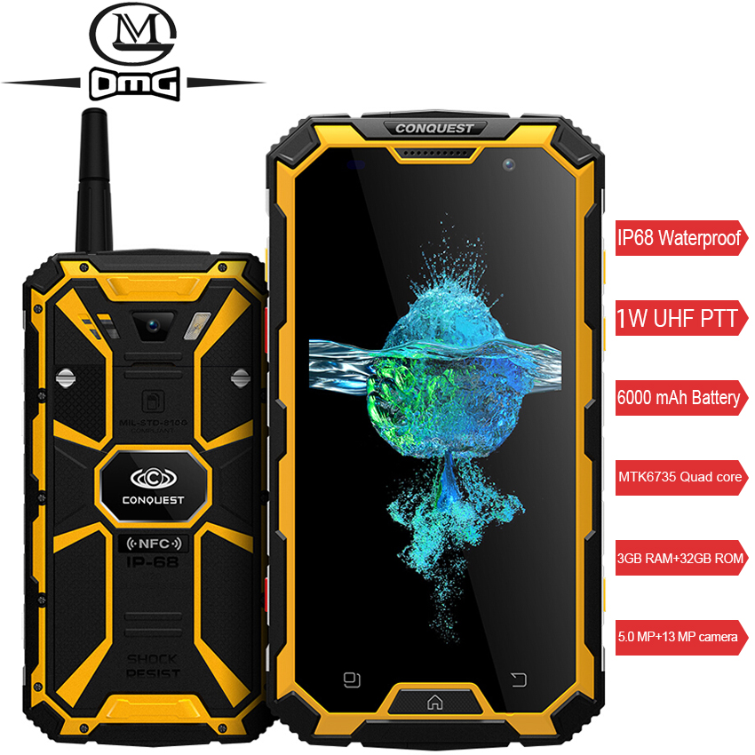 Conquest S8 <font><b>Smartphone</b></font> IP68 Waterproof shockproof 3GB RAM 32GB ROM MTK6735 Quad-core Android 5.1 <font><b>6000mah</b></font> battery mobile phone image