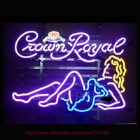 New Crown Royal Girl Neon Sign Store Display Handcrafted Neon Bulbs Glass Tube Neon Bar Signs