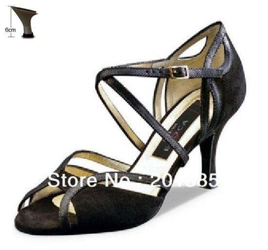 Пикантные женские черные бархатный латинский Обувь для бальных танцев обувь Сальса Танго Бачата туфли для мамбы Размер 34,35, 36,37, 38,39, 40,41 - Цвет: 6cm flare heel