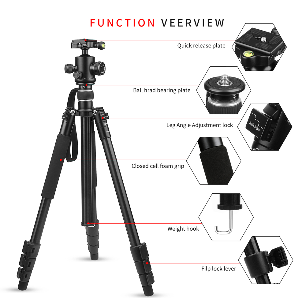 Image 2 - SHOOT Professional Portable Travel Camera Tripod Aluminum Alloy 4 Sections Tripod Stand for Canon Nikon SLR DSLR Digital Camera-in Tripods from Consumer Electronics