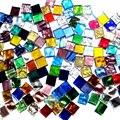 100 г  смешанные цвета  квадратная прозрачная стеклянная мозаичная плитка для рукоделия  мозаика для изготовления детских пазлов  прозрачный...