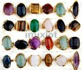 Wholesale Jewerly Lots 15pcs Vintage Gold Plated Natural Stone Rings Fashion Wedding Rings Free Shipping