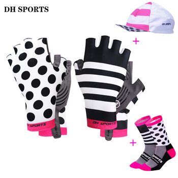 цена на Stylish Cycling Gloves Half Finger Men Women Sports Shockproof Bike Gloves GEL Racing Bicycle Gloves with Cycling Socks Cap Set