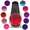 ECVTOP 24 Inch Straight  fusion hair extension 3/4 Full Head Two tone Ombre Synthetic Hair On/in Hairpieces 5 Clips