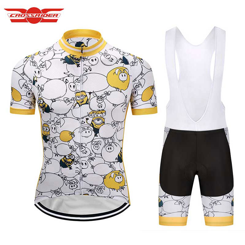 Crossrider 2018 Minions Mens Short Sleeve Cycling Jersey Set Cartoon Bike wear Clothes Maillot Culotte Bicycle clothing gel suit предметы гигиены bike cycling clothing bicycle wear suit short sleeve jersey