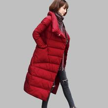 Warm Duck down Winter Jacket Latest Women Fashion Outwe Slim Large size Thick Down jacket Long sleeve Medium long Coat G2849
