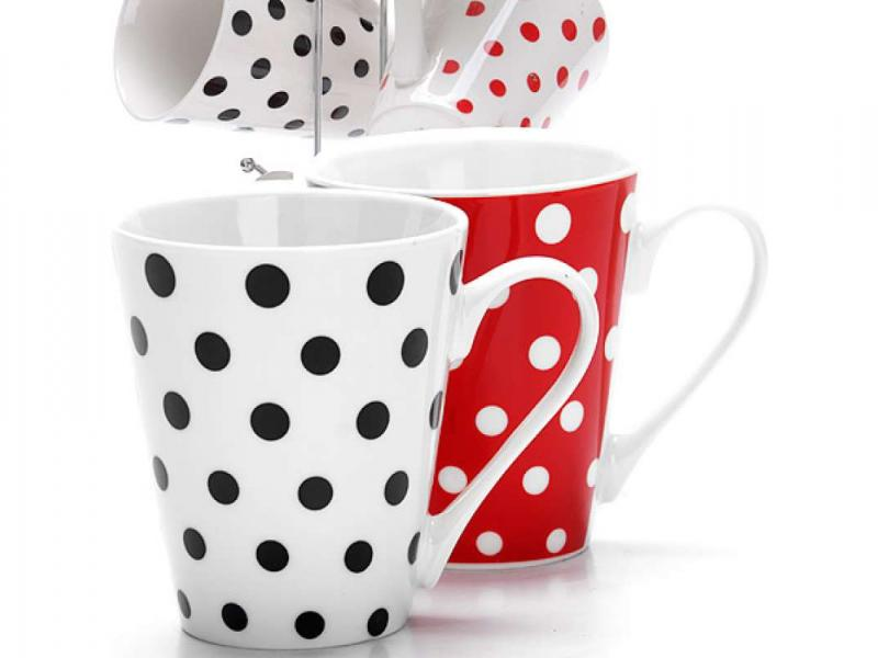 Set mugs LORAINE, 7 items, polka dot