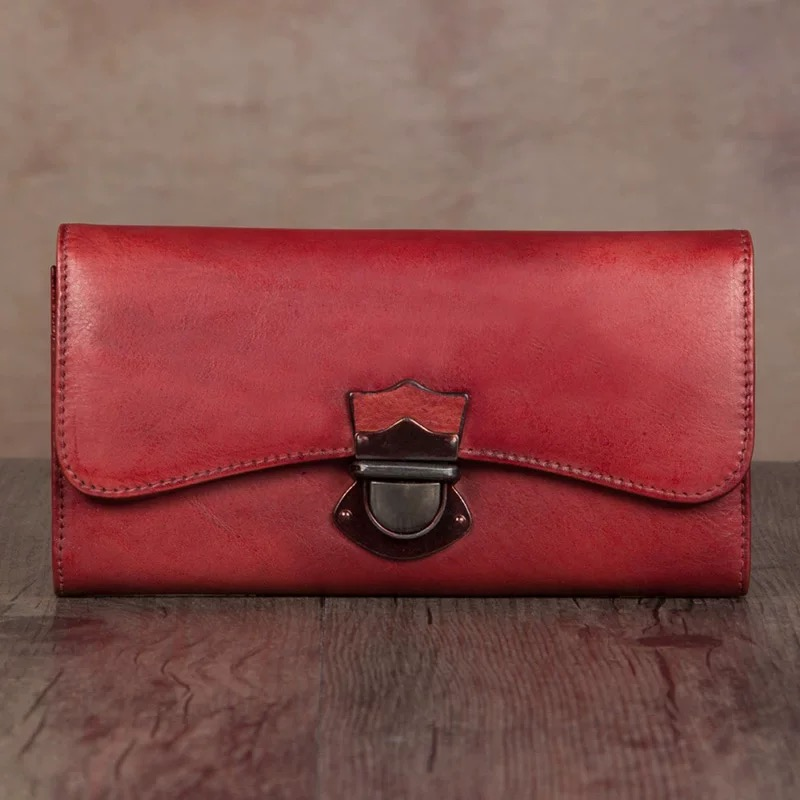 Vintage Designer Genuine Leather Hasp Closure Women s Large Red Trifold Clutch Wallet Cowhide Female Coin