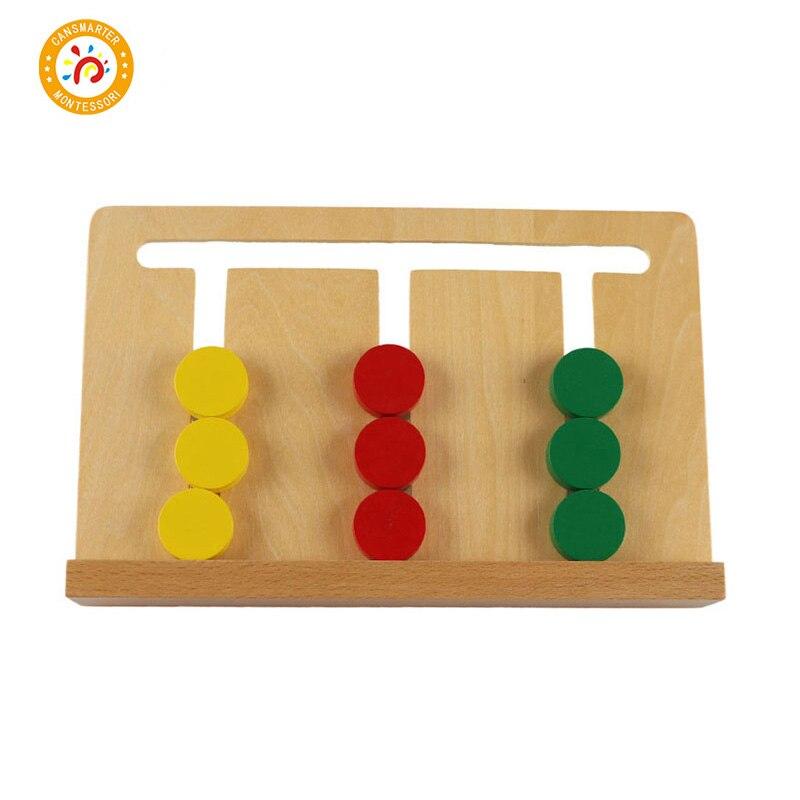 En bois Montessori Matériaux Jouets Sensorielle Conseil Clever Puzzle Enfants Formation de Mathématiques En Bois 3 Couleurs Boîte Jeu Jouets Montessori SE046