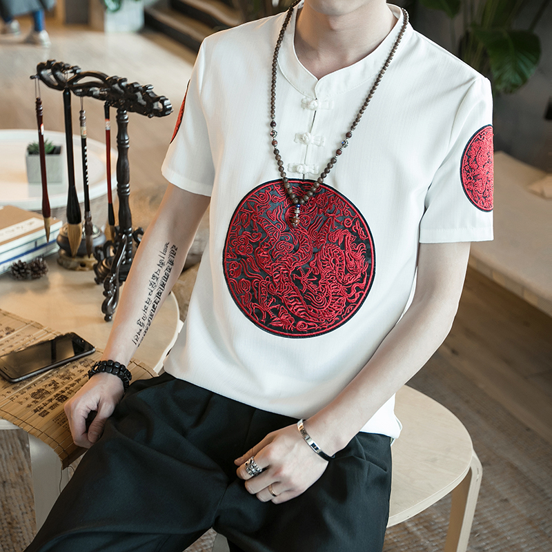 Classic Pan Kou Design T Shirt Men Summer Brand New Chinese Style Linen Mens T-Shirts Dragon Embroidery Short Sleeve Tops&Tees