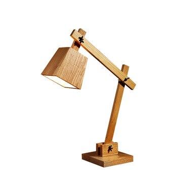 Новейший дизайн деревянные настольные лампы Настольная лампа Гостиная Спальня Декор 110-240 в стол из массивной древесины освещение