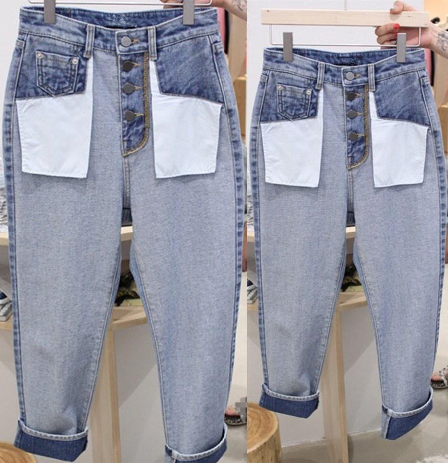 2019 Autumn New Korean Wide Leg Casual   Jeans   Fashion Women Straight Denim Pants Femme Loose High Waist Trousers