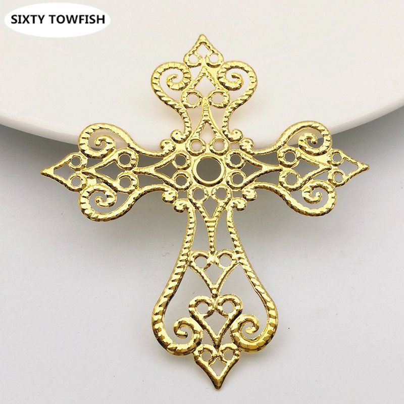 20 Pcs/lot 58x63mm 3Colors Metal Filigree Cross Flowers Slice Charms Base Setting Jewelry DIY Components Findings
