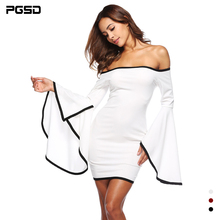 PGSD Simple Summer Slash neck flare sleeves womens dress Design sense party Casual Beach Dress solid color female