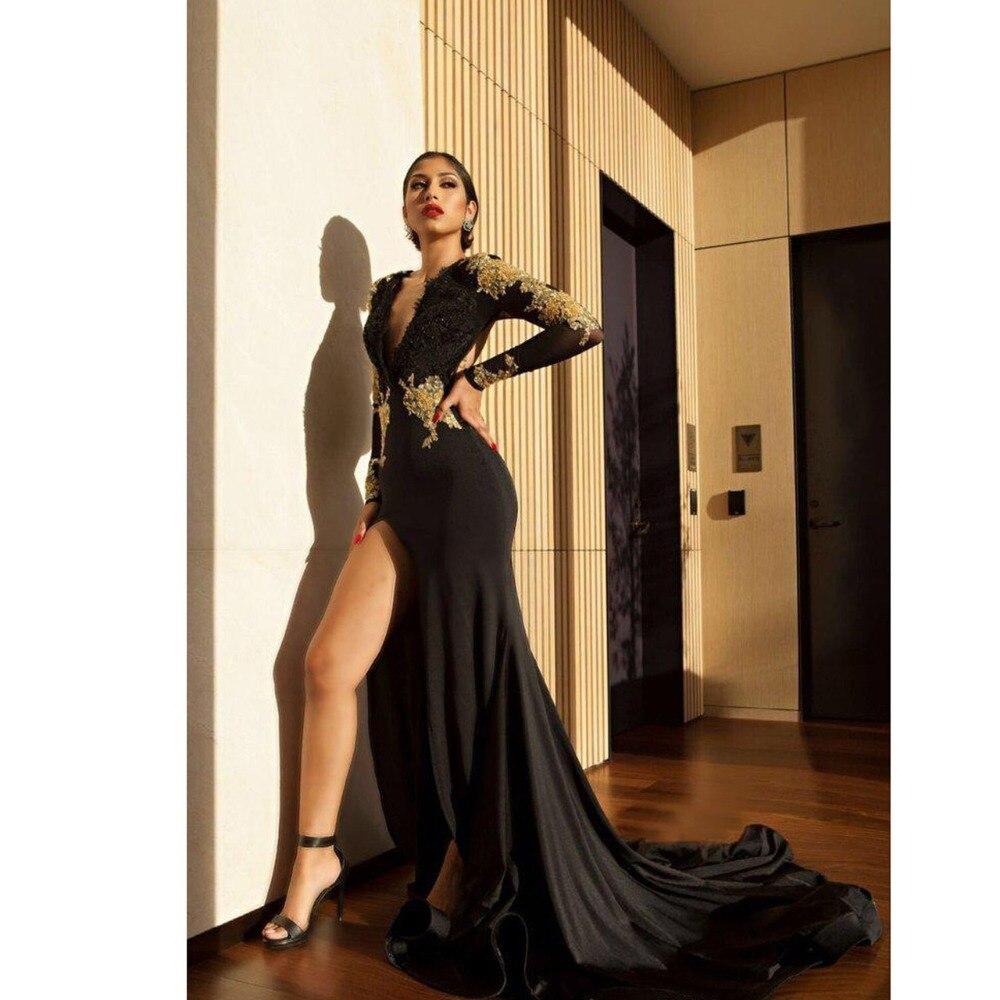 ebdac6bfbcc6ac8 Abendkleider 2018 золотой вышивкой Черное вечернее платье Русалка Одежда с  длинным рукавом пикантные высокий разрез Саудовская