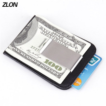 Fashion New RFID Men Genuine Leather Fashiom Wallet Business Casual Credit Card ID Holder With Strong Magnet Money Clip K105