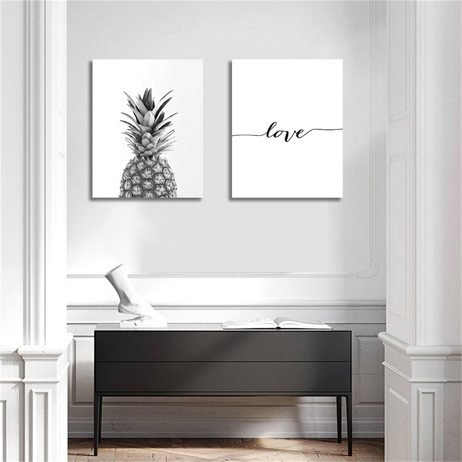 Laeacco Canvas Paintings Black and White Pineapple Wall Art Posters Prints Nordic Love Quote Picture Living Room Home Decor