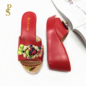 Image 5 - Women wedges slippers Comfortable PU sole high heel for women