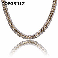 TOPGRILLZ Copper Gold Color Plated Iced Out CZ Stone 14mm Chain Necklace Hip Hop Rock Male Jewelry Necklaces With 18 22 Sizes