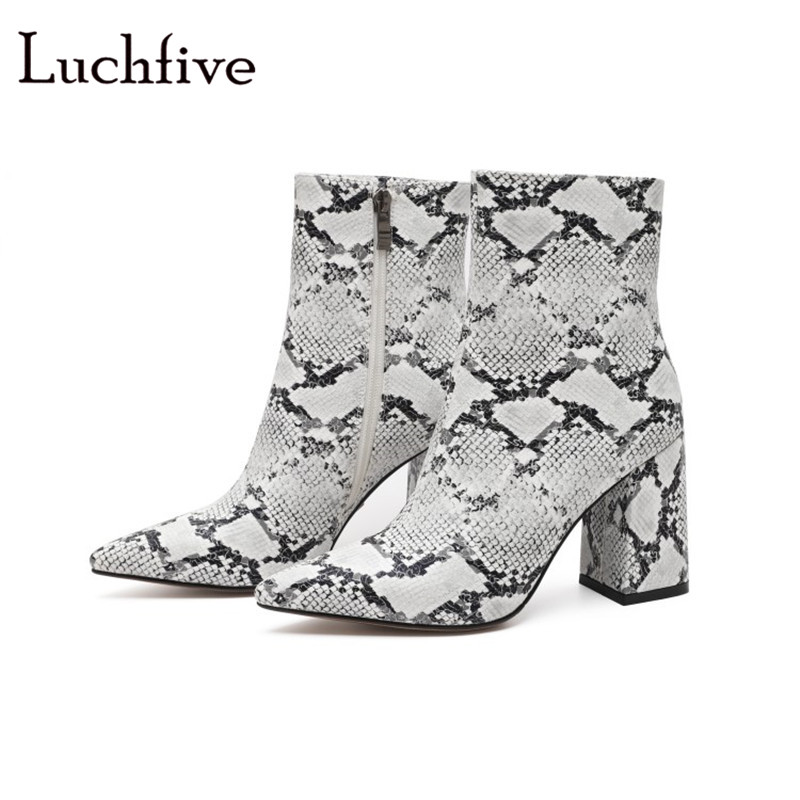New pointed toe women booties fashion chunky high heels ladies shoes sexy zipper serpent color leopard silver ankle boots women roni bouker women zipper boots autumn winter snake ankle booties high heels fashion pointed toe ladies sexy shoes 2018 big size