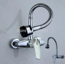 Single Handle Flexible faucet spout kitchen faucet mixer wall mounted kitchen sink faucet  Free Shipping