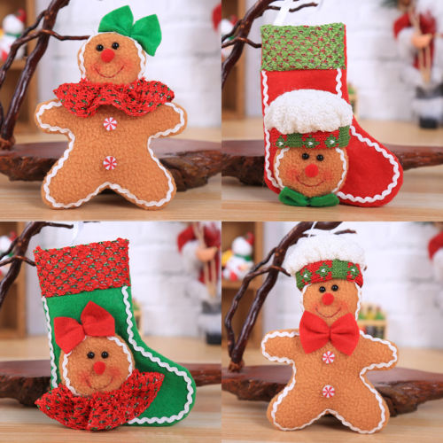 newyear 1pcsset gingerbread man sock man cute christmas ornaments xmas tree hanging decoration in pendant drop ornaments from home garden on