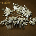 Handmade Beaded Flower Bridal Hair Comb/Pin Set Silver and Gold Color Wedding Hair Accessories