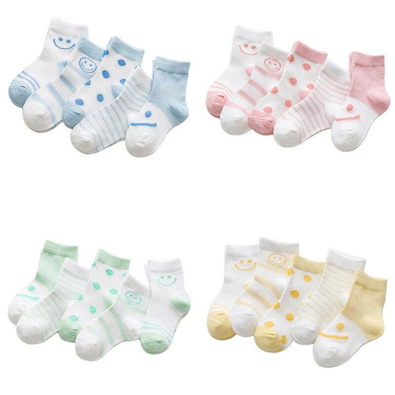 5pairs Summer Cotton Newborn Socks Smile Pattern Socks for Boys Girls Striped Thin Mesh Baby Short Sock Cheap Stuff Accessories