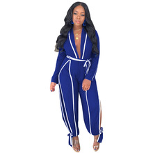 Adogirl White Trim Patchwork Women Jumpsuit Sexy Deep V Neck Long Sleeve Romper Side Slit Bow Tie Loose Pants Casual Overalls