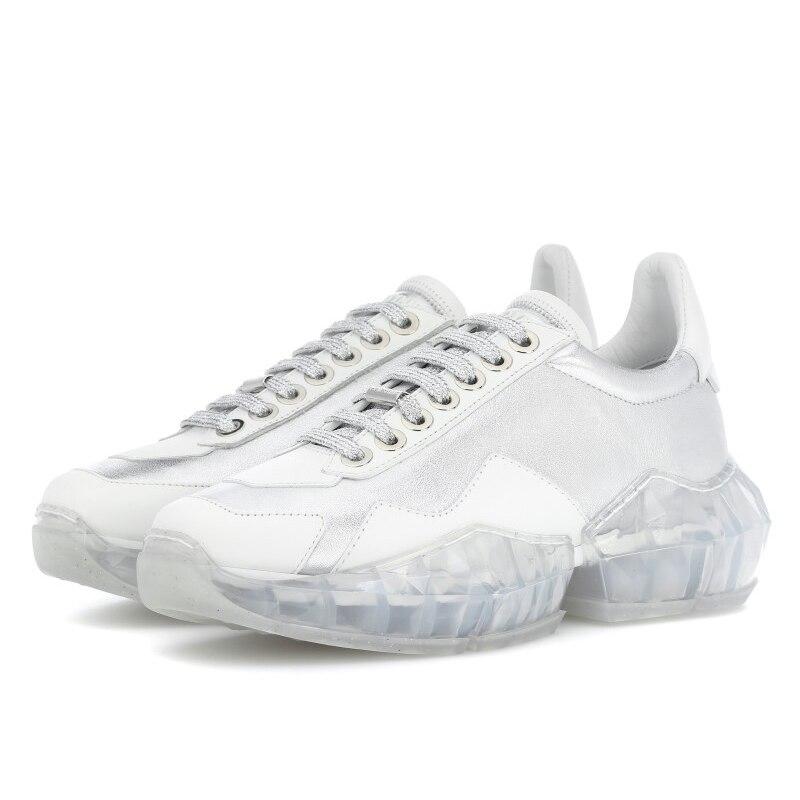 Décontracté Bling chaussure femmes zapato de mujer cristaux blanc Sneaker plate-forme chaussures femme strass véritable cuir chaussures de mode - 6