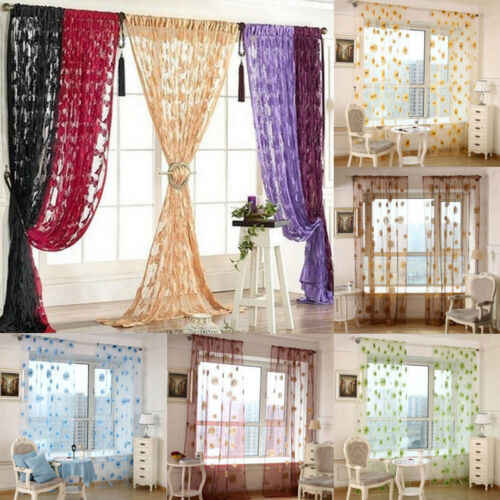 Door Window Room Tassel String Curtain Butterfly Sheer Lace Pattern Voile Drape