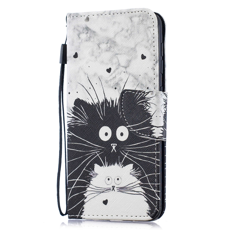 Para Samsung Galaxy Estojo De Couro em para Coque Samsung A10 A50 A20 A30 A40 A50 A70 Capa Estilo Bonito do gato virar Casos de Telefone Carteira