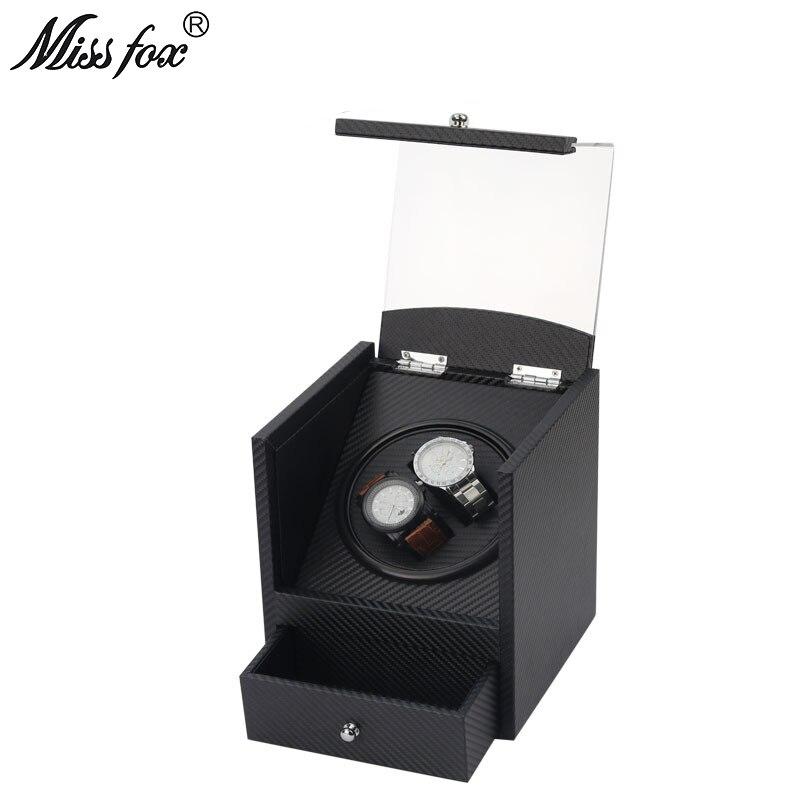 MISSFOX fibre de carbone Shaker simple tête 2 Table automatique enrouleur support de montre boîte moteur électrique boîte en bois montre boîte de rangement