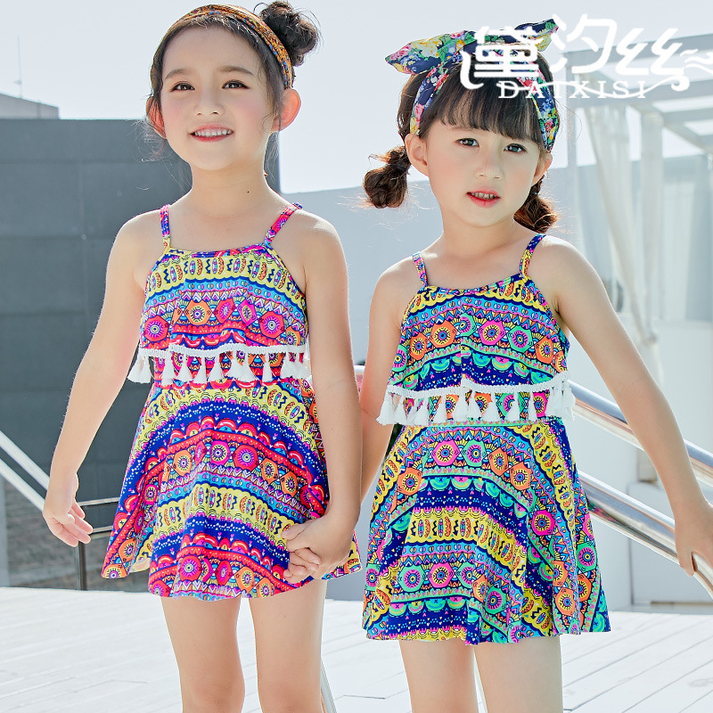 Swimsuit For Children Junior Girls Baby Clothes Swimwear Bathing Suits 2018 New 1 9 Stripe Printed Skirt Print Polyester Sierra