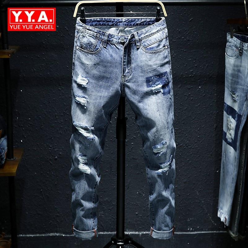 2018 New Fashion Mens Ankle-Length Pants Jeans Male Hip Hop Trousers Korean Style Slim Fit Distressed Jean Cowboys Pants Man