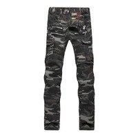 En gros 2016 version Coréenne de Marée style Militaire multi-poche à fermeture éclair serré camouflage pantalon pieds jeans de couture hommes