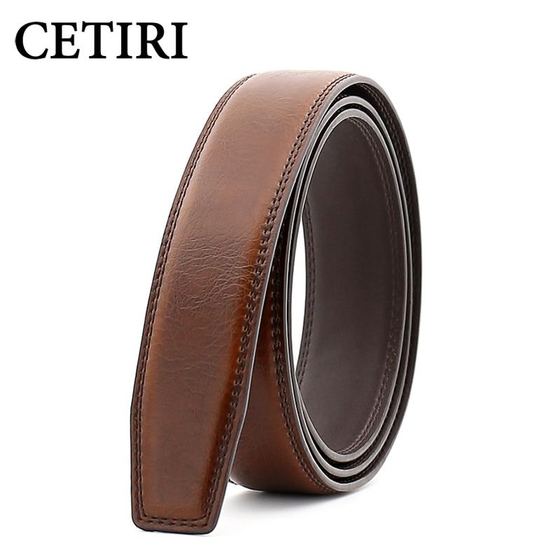 CETIRI 3.5cm Men Leather Belts No Buckle Automatic Harajuku Belt Body Strap Waist Belts Male Black Brown Cinturones Para Hombre