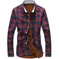 Плюс размер М-5XL толстый бархат рубашки мужчины плед зимние рубашки turn down воротник мужской slim fit Camisa Masculina рубашки