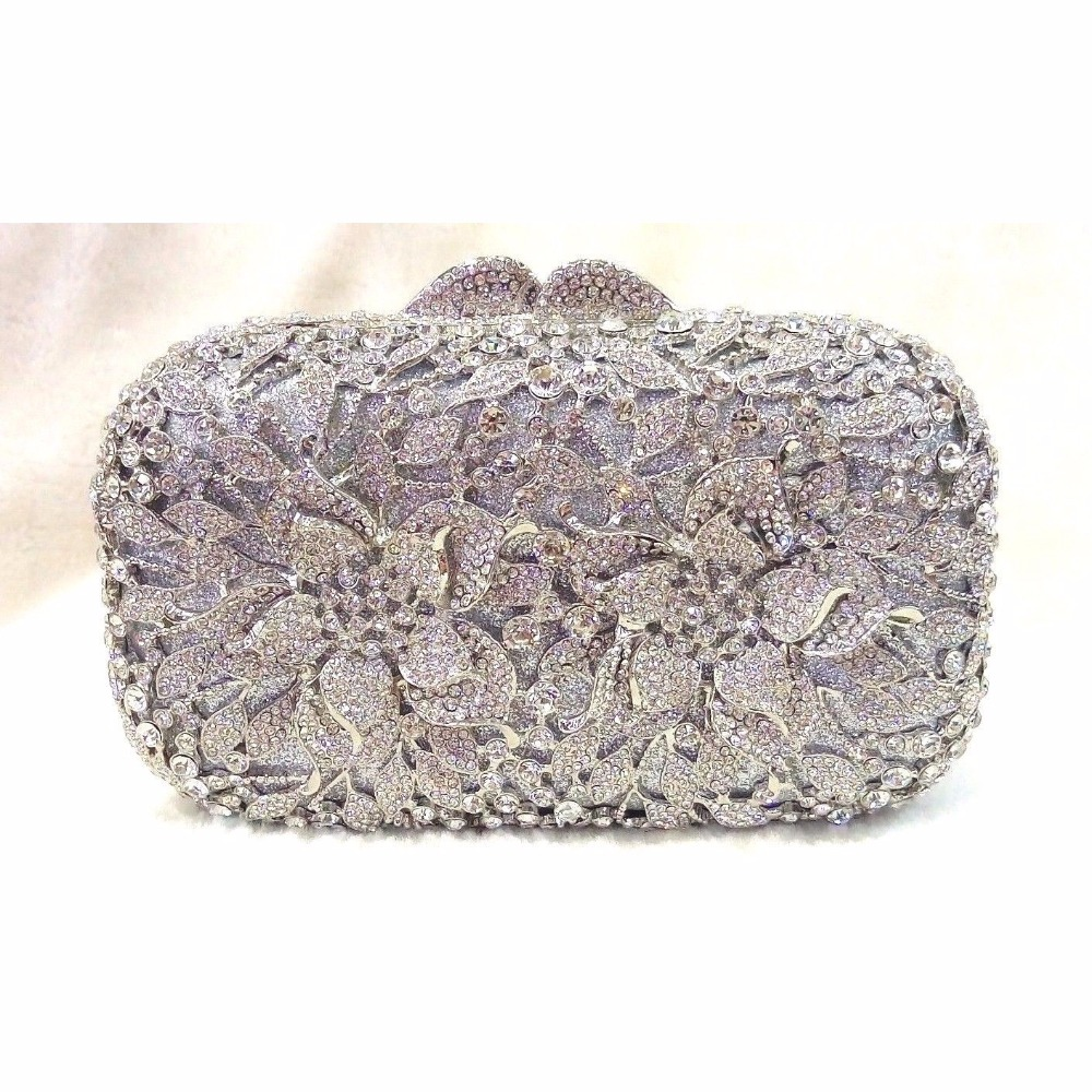#8355S silver Crystal Flower Floral Bridal Party hollow Metal Evening purse clutch bag box handbag case