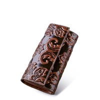 QISU natoinal design women's genuine leather wallet embossed leather purse women's clutch