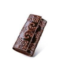 Qisu/национальные дизайн женские Натуральная кожа бумажник тиснением кожаный кошелек женский клатч